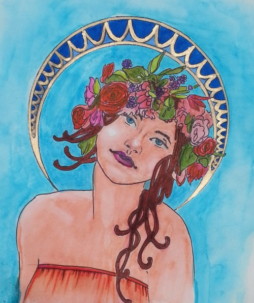 Alfons Mucha inspired watercolor © 2015
