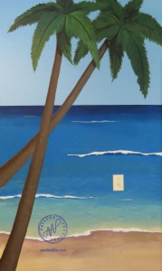 mural of the beach and palm trees